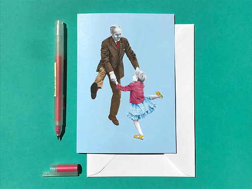 Shake a Leg Lindy Hop Greetings Card with White Envelope