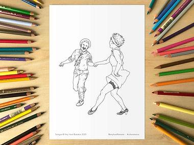 Lindy Hop Swingout Colouring Sheet