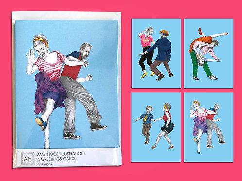 Swingout Lindy Hop Greetings Card Pack 4 Designs