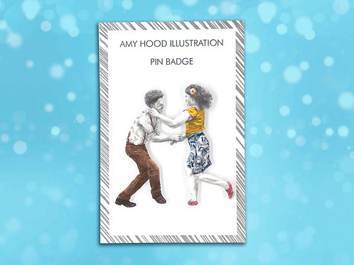 Let's Face The Music Lindy Hop Pin Badge Front View