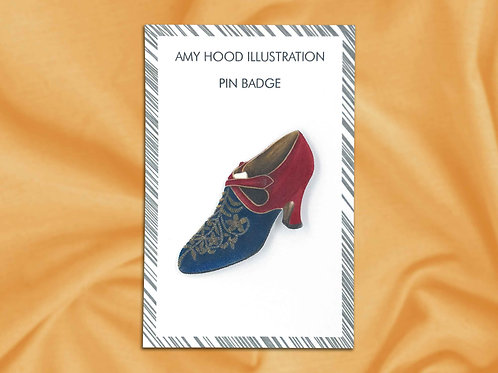 Embroidered Gold Red & Blue Shoe Vintage Fashion Pin Badge Front View