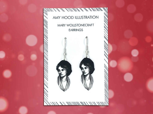 Mary Wollstonecraft Feminist Earrings Front View