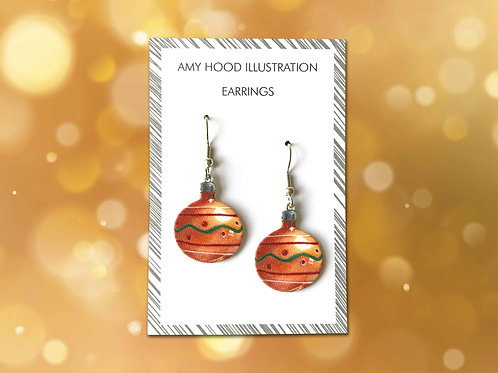 Christmas Orange Bauble Earrings Front View