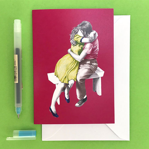 Kiss Me Quick Retro Valentine's Day Anniversary Greetings Card with White Envelope