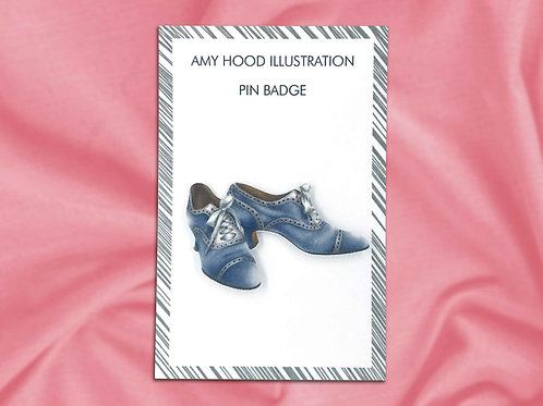 Blue Suede Shoes Vintage Fashion Pin Badge Front View