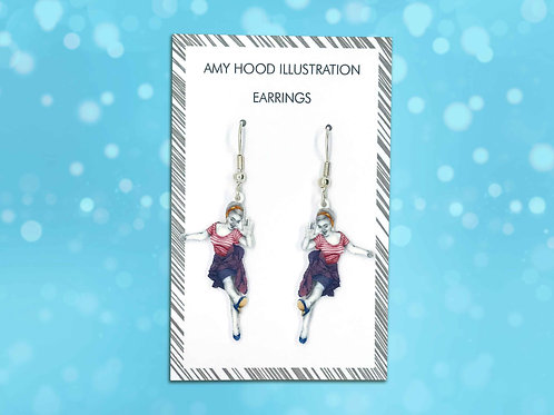 Airplane Charleston Lindy Hop Earrings Front View