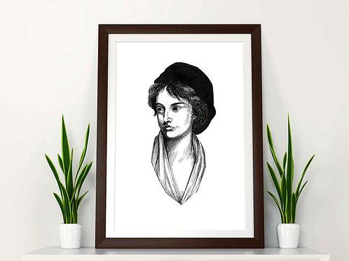 Mary Wollstonecraft Feminist Art Print Plain Background