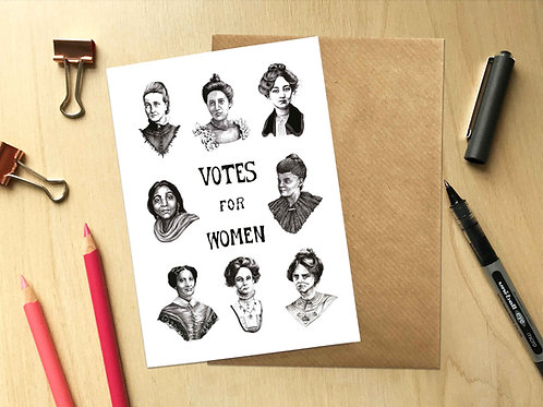 Votes For Women Greetings Card with Kraft Envelope Front