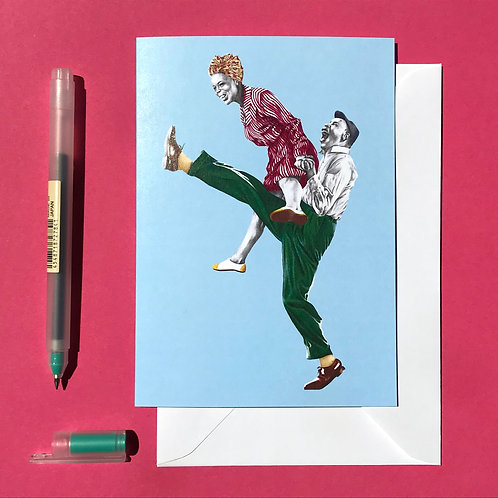 Pimped-up Charleston Lindy Hop Greetings Card with White Envelope