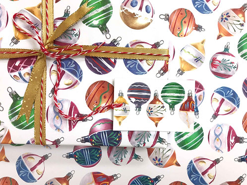 Christmas Baubles Gift Wrap with Tag Wrapped Present Detail