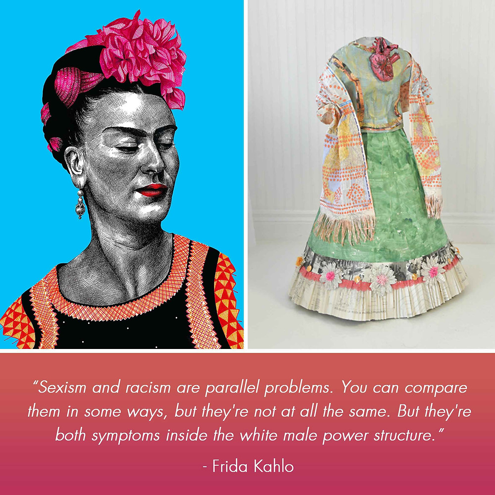 Frida Kahlo Amy Hood Illustration Liza MacKinnon Pen Portrait Paper Dress