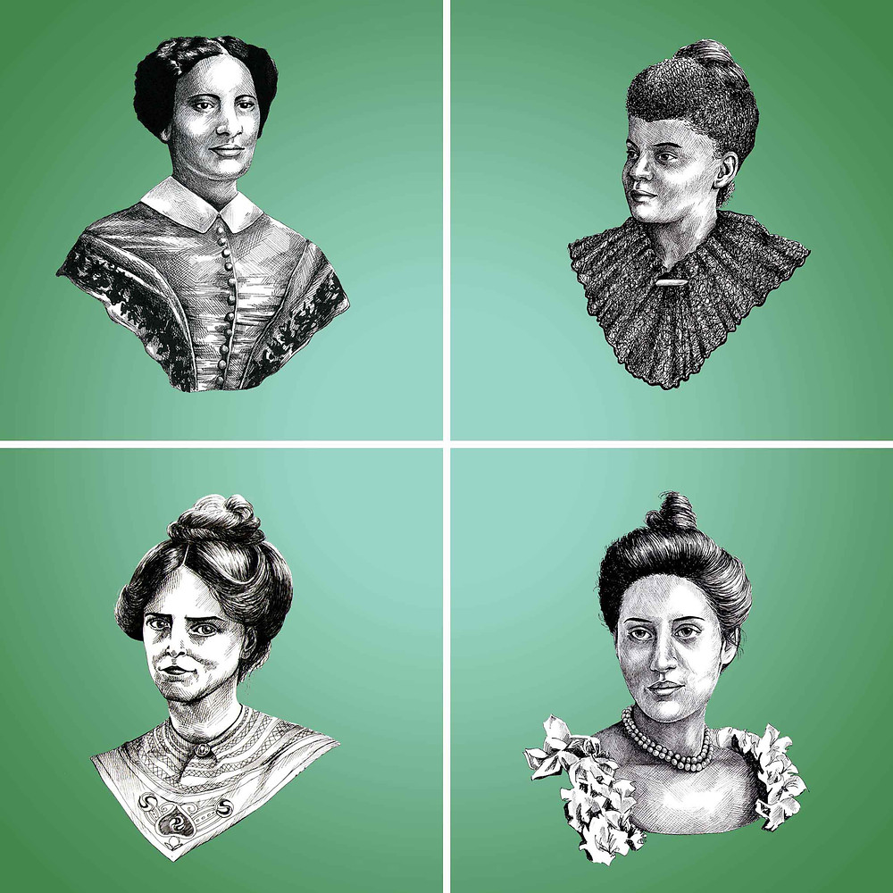 Suffragette Civil Rights Activist Sarah Parker Remond Ida B Wells Sophia Duleep Singh Annie Kenney Pen Portraits Amy Hood Illustration