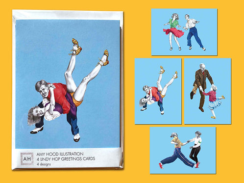 Tacky Annies Lindy Hop Greetings Card Pack Front View