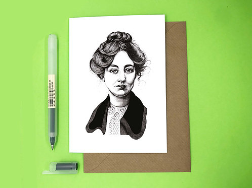 Sylvia Pankhurst Suffragette Greetings Card with Kraft Envelope