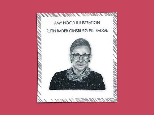 Ruth Bader Ginsburg Feminist Pin Badge Front View