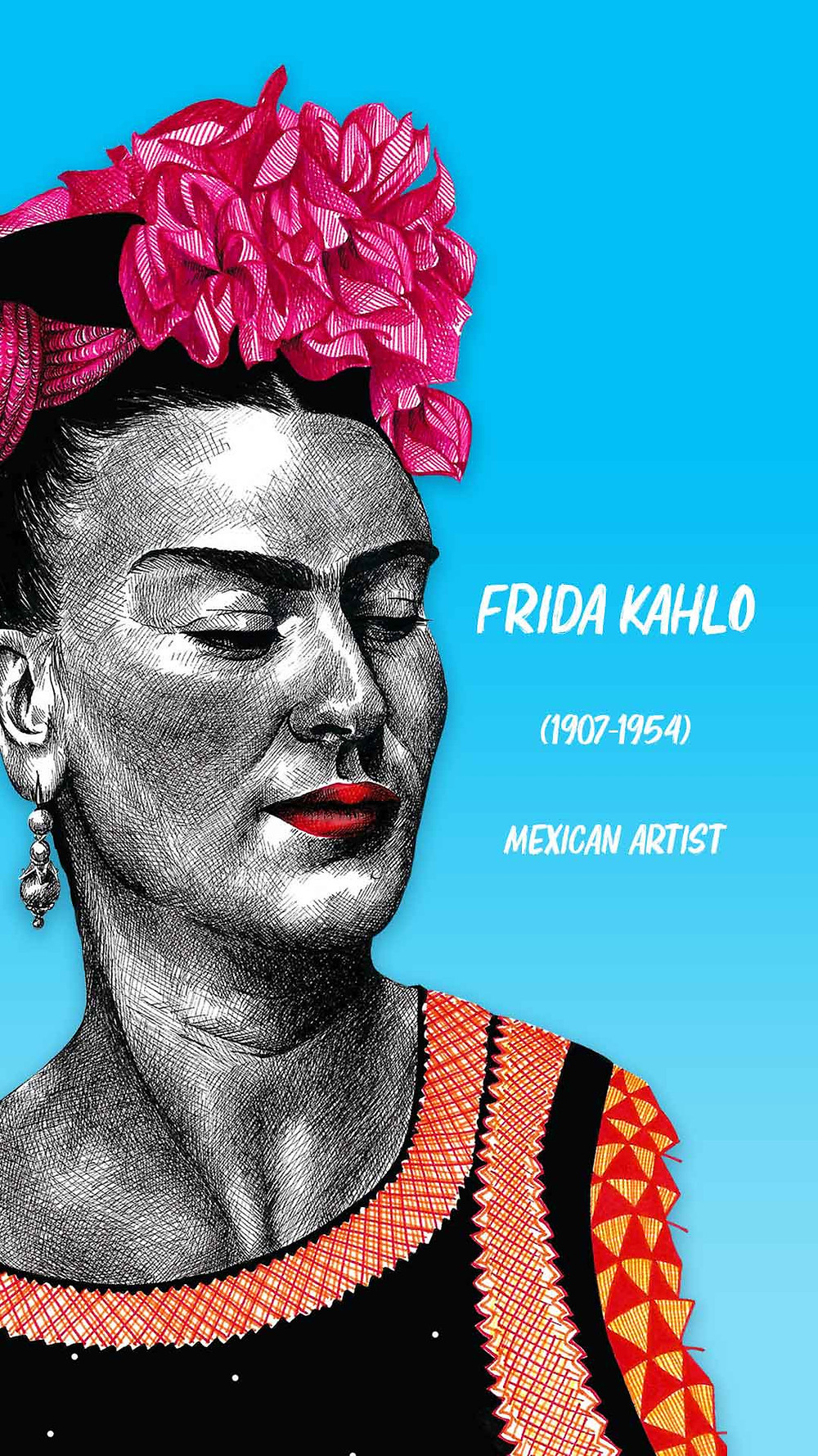 Frida Kahlo Amy Hood Illustration Pen Portrait Colour Drawing