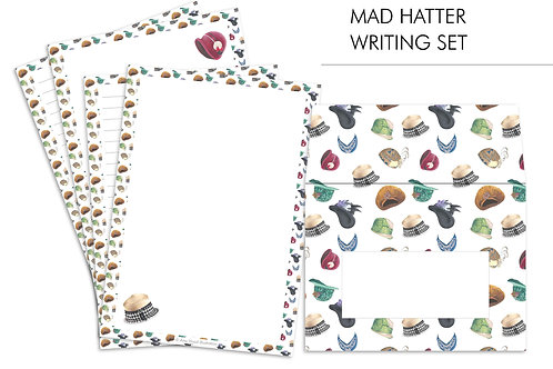Mad Hatter Vintage Fashion Letter Writing Paper Set