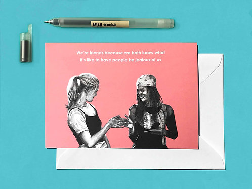 Clueless Cher & Dionne Feminist Galentine's Day Birthday Greetings Card Front View
