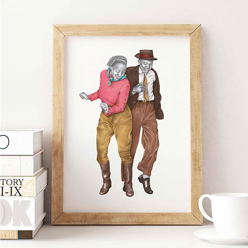 Toe Tappin Lindy Hop Art Print Front View