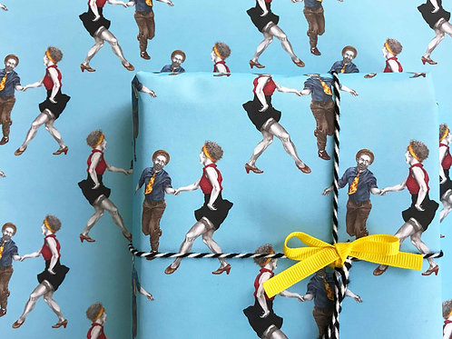 Swingout Lindy Hop Gift Wrap Wrapped Present Detail