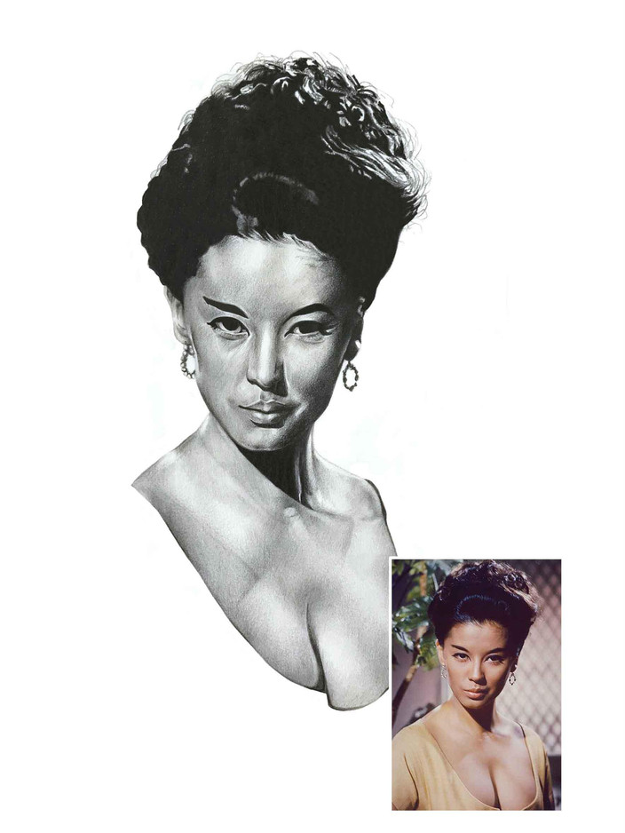 Pencil Portrait - France Nuyen