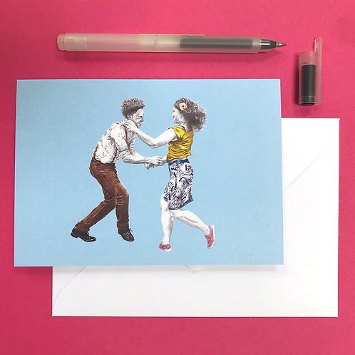 Let's Face the Music Lindy Hop Greetings Card with White Envelope