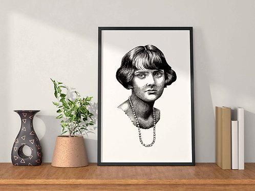 Daphne Du Maurier Art Print Plain Background