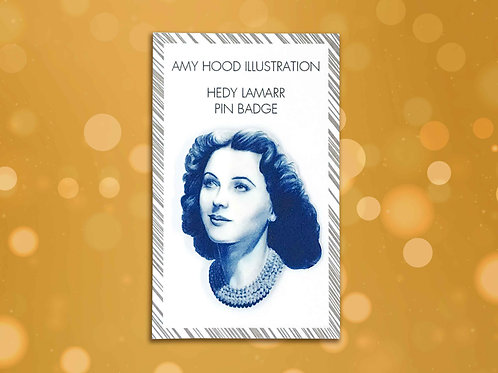 Hedy Lamarr Feminist Pin Badge Front View