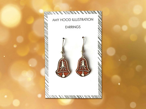 Christmas Gingerbread Bell Earrings Front View