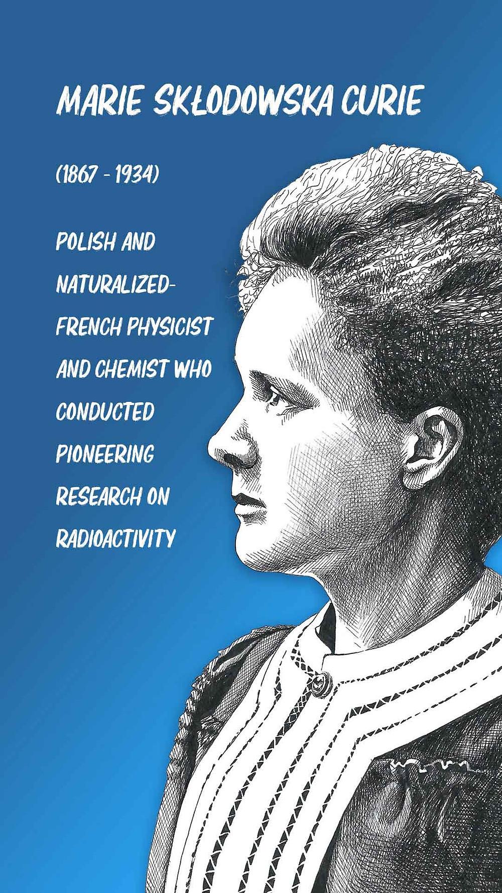 Marie Curie Pen Portrait Amy Hood Illustration
