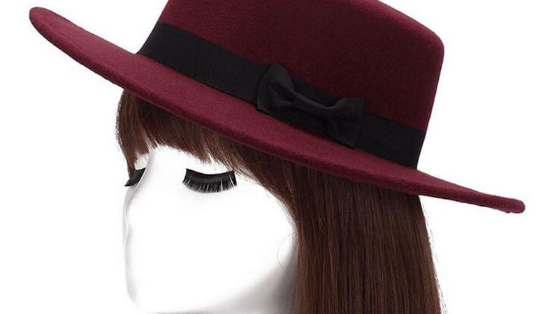 Women's felt fedora flat top jazz hat