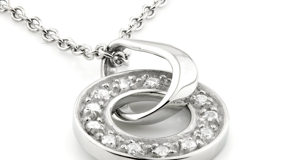 Steel Long CZ Halo Pendant Necklace