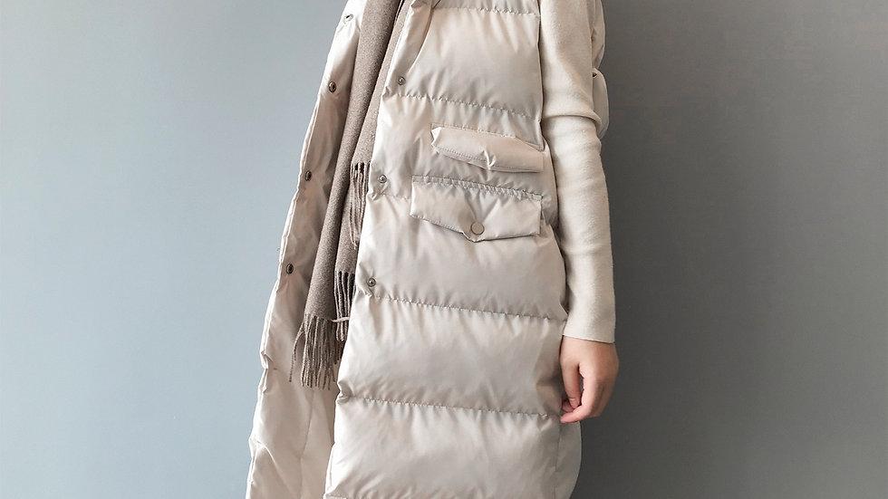 Long sleeveless cotton padded vest coat