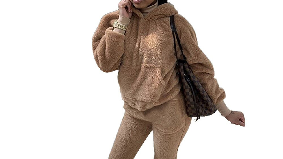 Plush Sweater Tracksuit Long Sleeve Hooded Top With Pants Two Piece Set