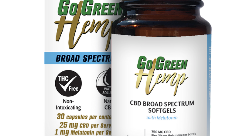 GoGreen Hemp Soft Gel Capsules With Melatonin 25mg CBD | 1mg Melatonin (750mg)