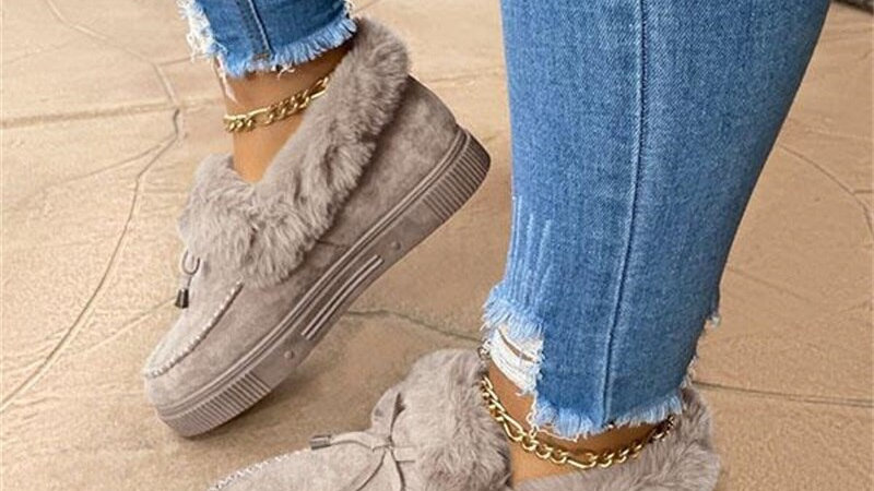 Winter Boots Cute Bowknot Fur Slip-On Cotton Shoes Winter Warm Plush Loafers