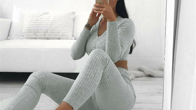 Knitted lounge wear 2pc crop top tracksuit