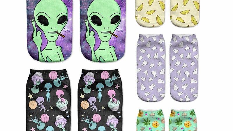 Women Low Cut Ankle Socks Funny Aliens 3D Printing Cotton Cartoon Printed Sock