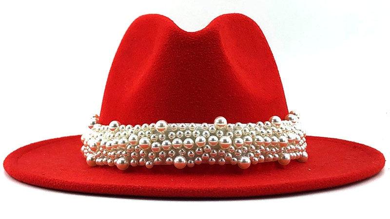Women' Jazz Fedora hat with Pearl Ribbon
