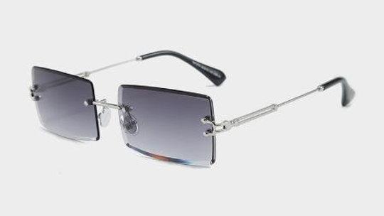 Square Framed Rimless Sunglasses