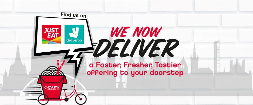 we now deliver on just eat and deliveroo poster