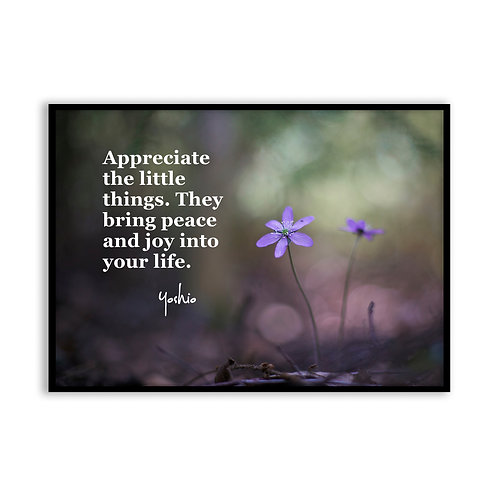 Appreciate the little things - 5x7 Framed Art - Original Quote by Yoshio