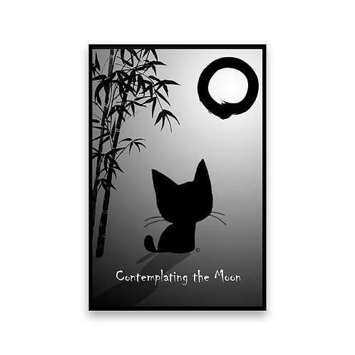 Contemplating the Moon Cat Magnet