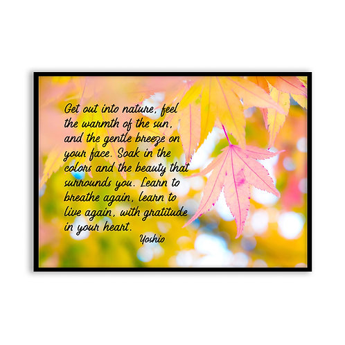 Get out into nature - 5x7 Framed Art - Original Quote by Yoshio