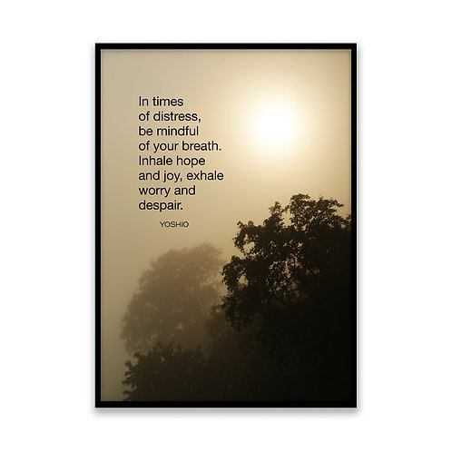 In times of distress... - 5x7 Framed Art - Original Quote by Yoshio