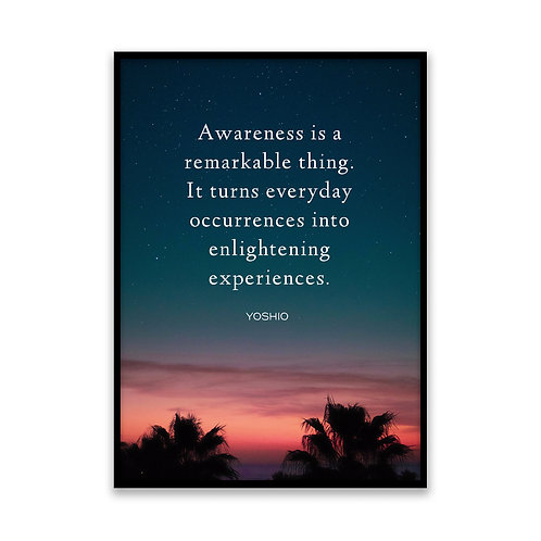 Awareness is a remarkable thing... - 5x7 Framed Art - Original Quote by Yoshio