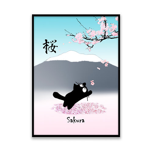 Sakura Cat - 5x7 Framed Art