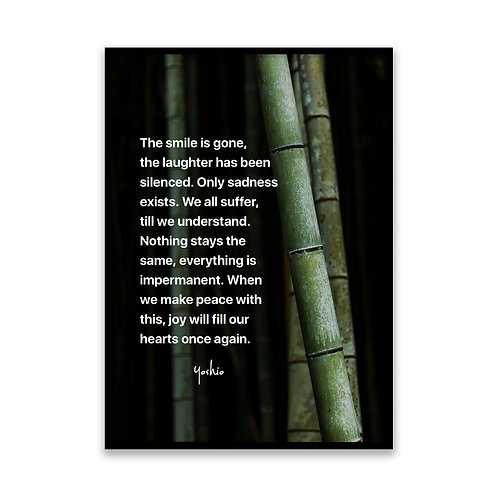 The smile is gone... - 5x7 Framed Art - Original Quote by Yosh