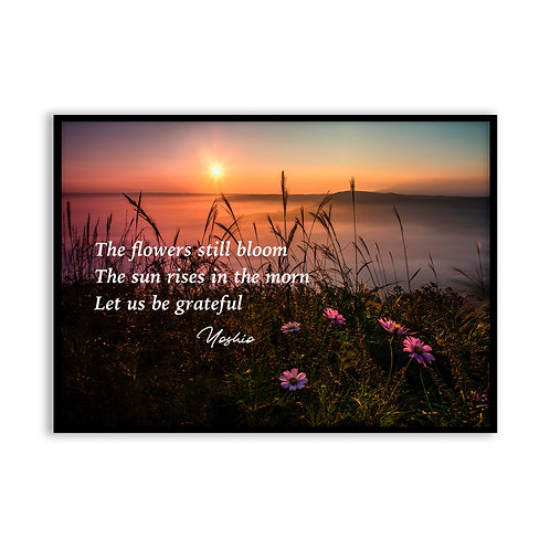 The flowers still bloom...  - 5x7 Framed Art - Original Haiku by Yoshio