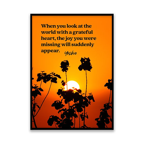 When you look at the world... - 5x7 Framed Art - Original Quote by Yoshio